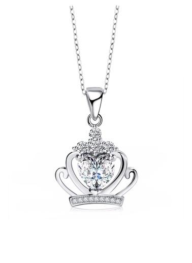 Enesstore Gümüş Kraliçe Tacı Bayan Kolye Beyaz